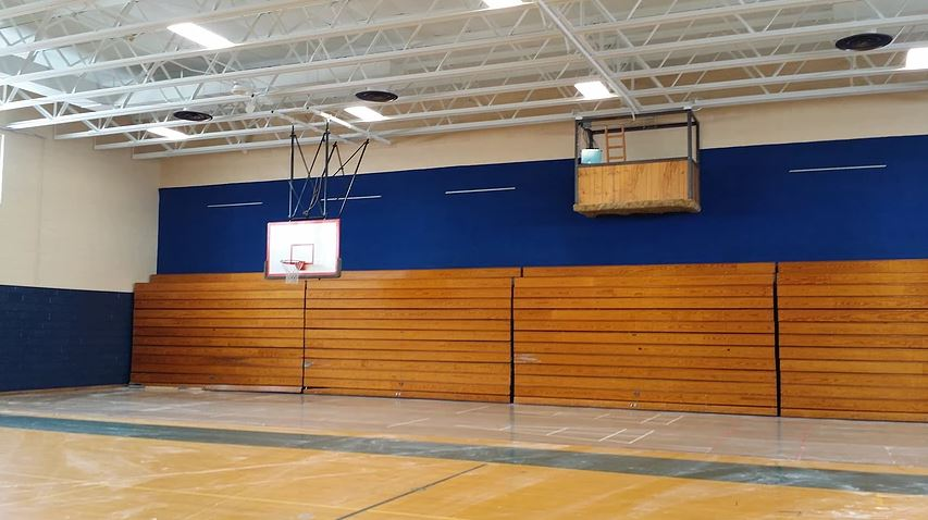 School Gym Painting: Completed (ceiling and walls painted)